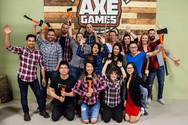 Calgary Team building at Axe Games Facility